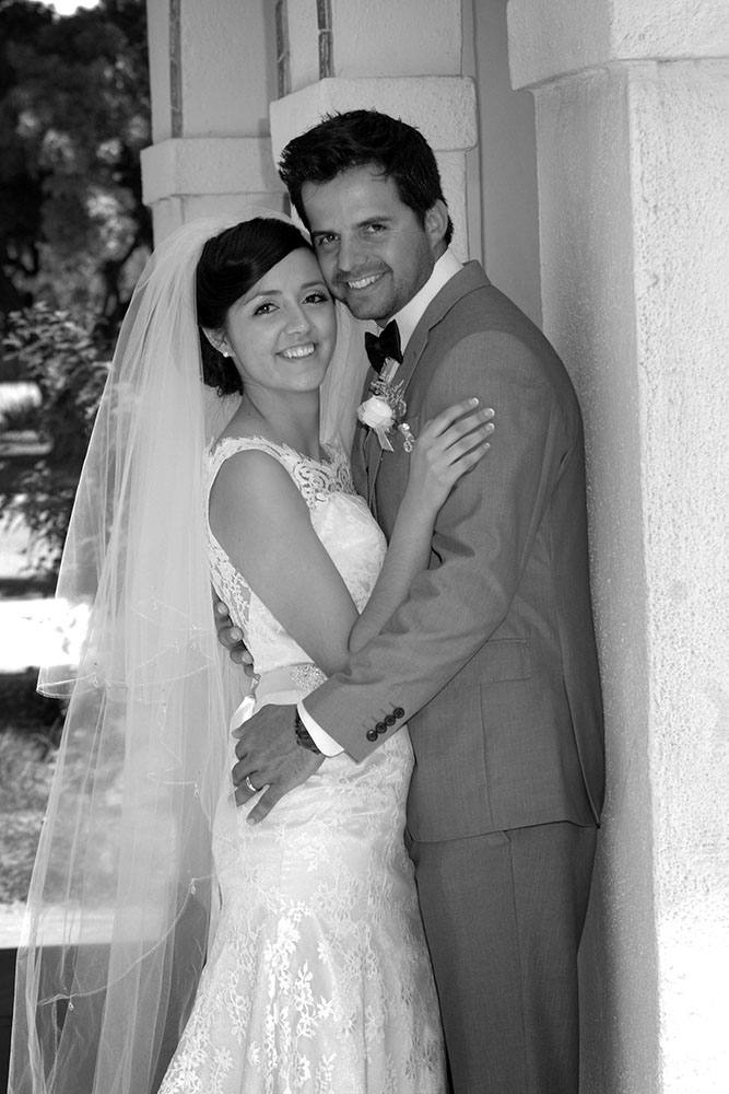 Bride and groom B&W