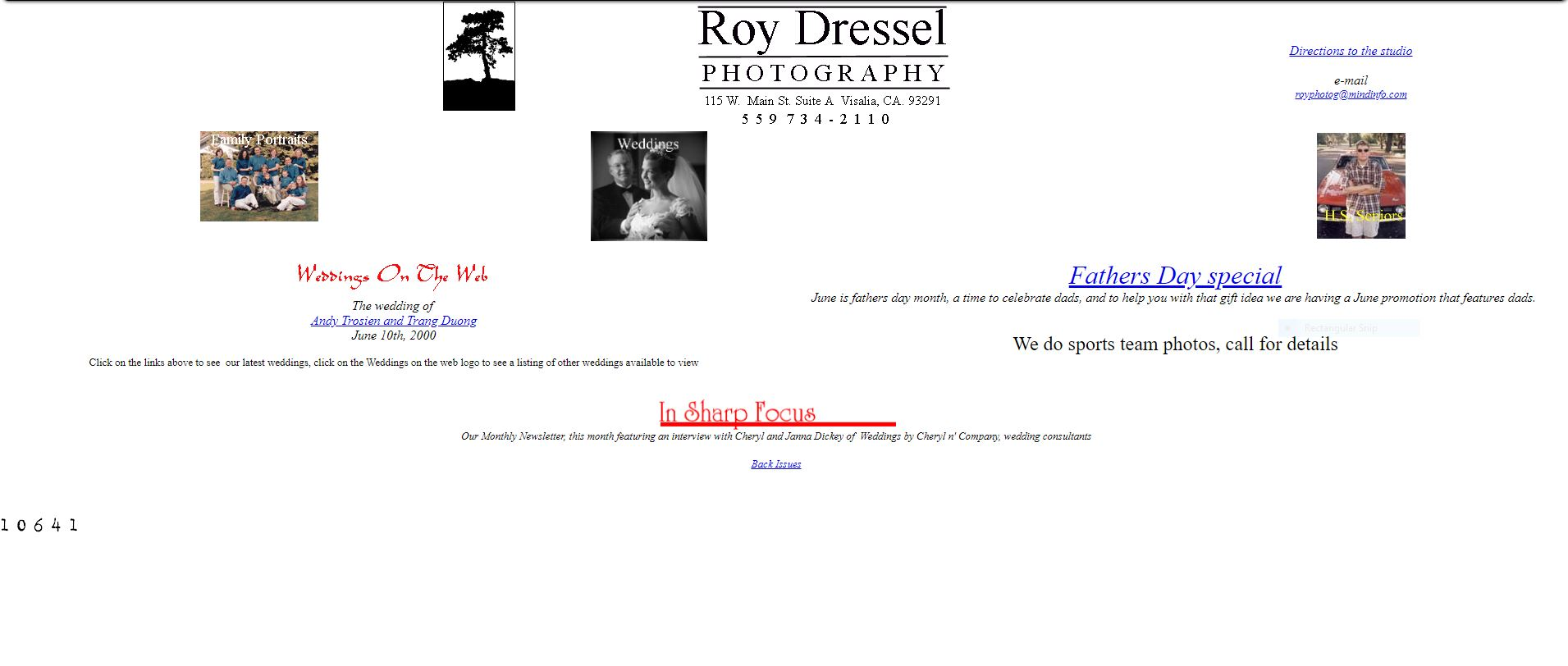 first web page roydresselphoto.com 2000