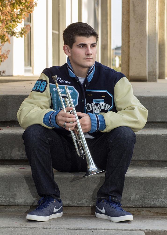 senior with trumpet
