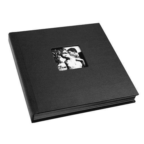 black traditional wedding album