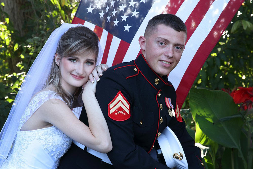 bride groom and the flag