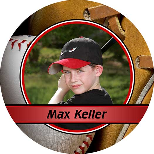 baseball magnet and button